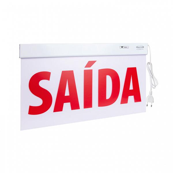 Sinalização Saída SLIM Dupla Face 50x25cm com adesivo
