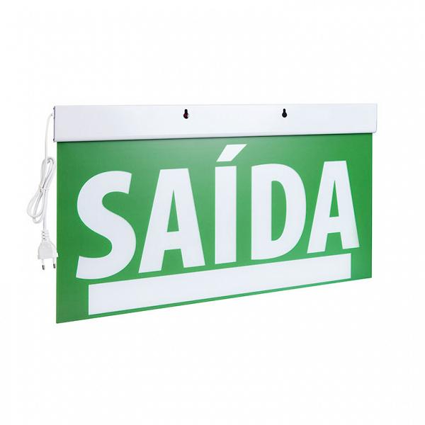 Sinalização Saída SLIM Dupla Face 50x25cm verde com seletor e adesivo