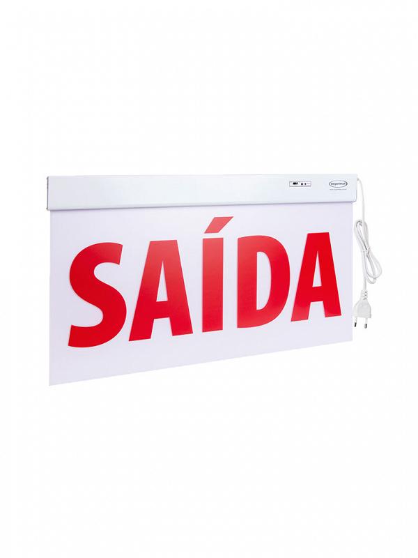 Sinalização Saída Premium Dupla Face 60X30cm com adesivo