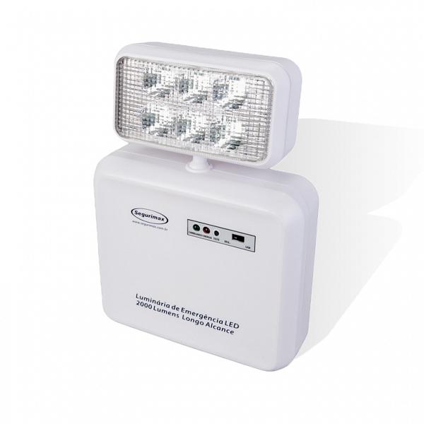Iluminação emergência LED 2.000 lumens 1 farol longo alcance