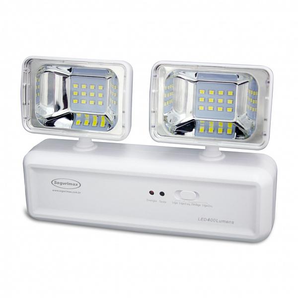 Iluminação Emergência LED 400 Lúmens 2 Faróis