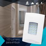 Iluminação de emergência autônoma LED 100 Lúmens de embutir