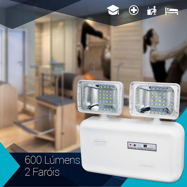 Iluminação emergência LED 2 faróis 600 lúmens com bateria selada